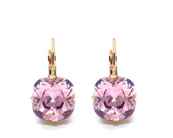 Earrings ' The square ' 12 mm rose gold with Swarovski crystals ' antique pink '