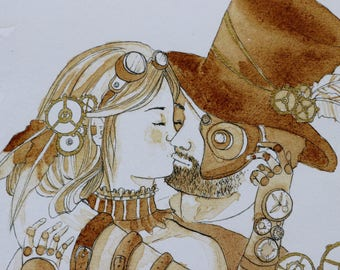 Art Print - Steampunk Couple - Kiss