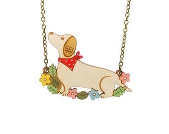 Dachshund necklace ~ hand painted laser cut dog necklace