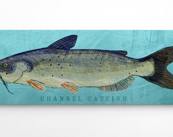 Outdoor Gift, Fishing Gifts for Him, Channel Catfish Art Block, Lake House Art Gifts for Brother, Channel Catfish Block, Fish Gift Ideas