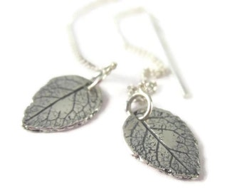 Silver Leaf Threader Earrings in Sterling Silver, Dainty Long Chain Botanical Drops Nature Jewelry