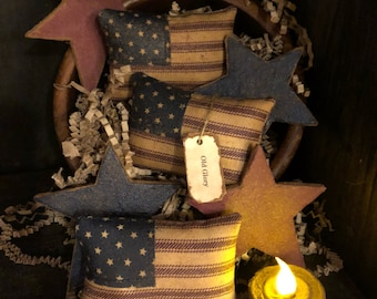 Primitive American Flags and Stars Bowl Fillers