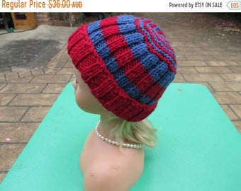 ON SALE Hand Knitted Red and Blue -  Beanie  for Baby up to 12 months