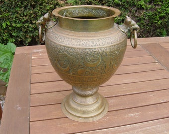 large indian brass urn for home or garden