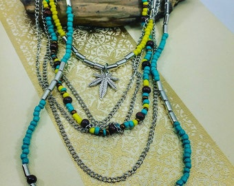 Turquoise and Lime Beaded Cannabis Leaf Necklace.