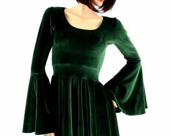 Forest Green Velvet Gypsy Sleeve Skater Dress with Scoop Neckline -154730