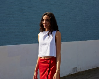 White Linen Panel Minimalist Cropped Sleeveless Top FINAL SALE PRICE