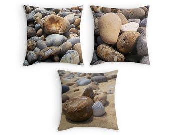Beach Pebbles Throw Pillow, Summer House Decor, 16x16 18x18 20x20 Beach Hut Scatter Cushion