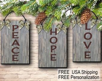 Rustic Wood Hope Love Peace Rustic Wood Holiday Ornament Christmas 3/Set