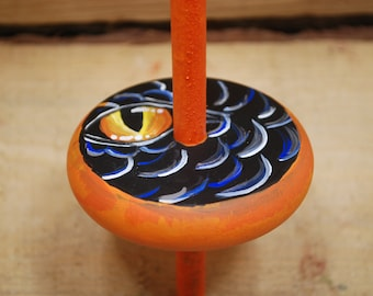 dragon's eye drop spindle, handpainted and handcrafted