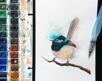 Original Fairy Wren Watercolour Painting on 185gsm A5 Watercolour Paper