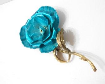 Vintage Turquoise Enamel Flower Brooch (5293)