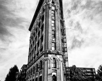 Fort Worth, Texas, Building, Architecture, Renaissance Revival, National Register, Historic Places- Fort Worth Flatiron Full Black and White