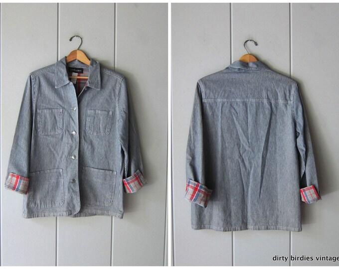 Pinstriped Denim Chore Jacket - Small