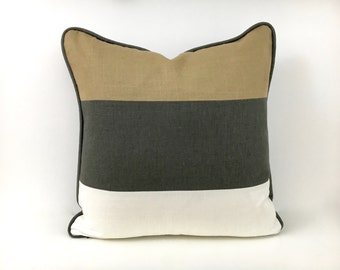 Gray Pillow Cover - Gray, Tan, and White Color Block Pillow Cover
