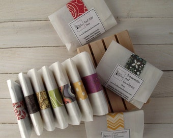 Soap Samples - Wedding favors - Mini soap - Handmade soap - All Natural Cold Process Soaps - with Essential Oils - Choose 8 Samples