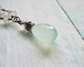 Mint Green Chalcedony Drop Necklace, Rose Quartz, Oxidized and Wire Wrapped Sterling Silver