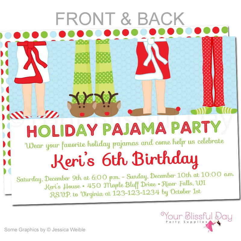Holiday Pajama Party Invitations Christmas Pajama Party