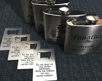 4 Sets Of Laser Engraved Stainless Steel Flask & Bottle Opener  - 10  Designs - 20 Fonts - Groomsman / Bridesmade Gift - Wedding Favor