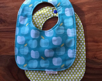 Polka dot apple bibs - set of 2 - cotton with flannel backing