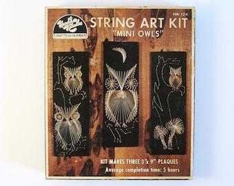 "Vintage Owl String Art Kit - Makes 3 Owl Wall Hangings - 3x9"" Mini Owl Art - DIY Craft Kit - Black and Gold Home Decor - Family Craft Night"