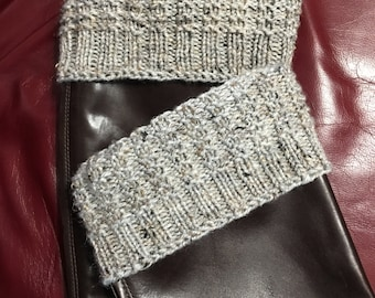 Boot Toppers, Boot Cuffs, Ankle Warmers, Grey, Handknit