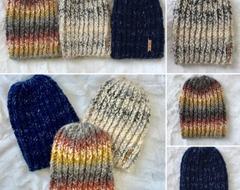 Sale Ready to ship! Fall Ribbed Slouch Beanie, chunky knitted hat, winter knit hat, hand knitted hat Fall Color toboggan, Winter Accessories