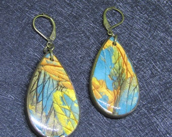 Blue, gold and copper metallic colors polymer clay earrings