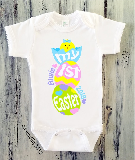 Baby girl my first easter onesie personalized easter bodysuit like this item negle Images