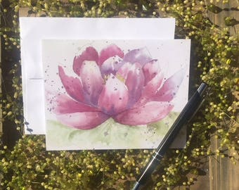Note cards, 6 blank, lotus, pink, stationary, Thank you cards, party invitations