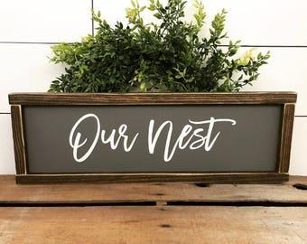 Our Nest, Wood, Sign, Farmhouse, Handmade