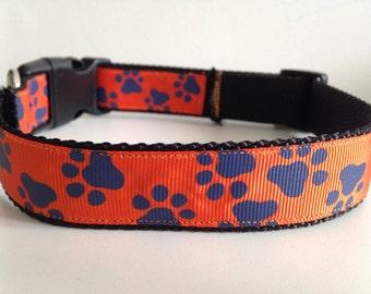Orange and Blue Paw Prints Auburn Tigers Large 1 inch Dog Collar