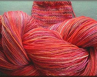 Hibiscus Hand Dyed Yarn, knitting, crocheting, weaving, peach, orange, sparkles, pink, bright, multi
