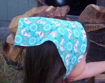 Aqua Head Scarf With White And Pink Birds