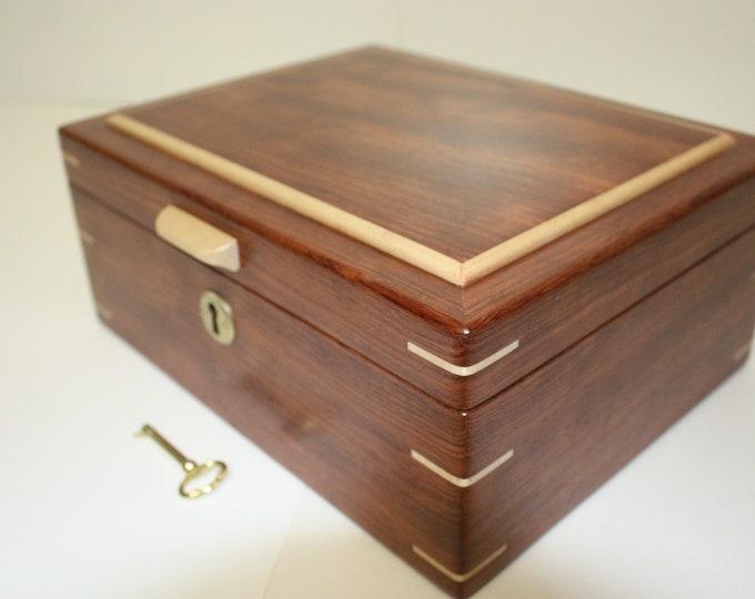 Handmade Locking Bubinga Wood Box Valet Box, Keepsake Box, Gun Box, Secretary Box, Jewelry Box Lift Out Tray, Adjustable, Removable Dividers
