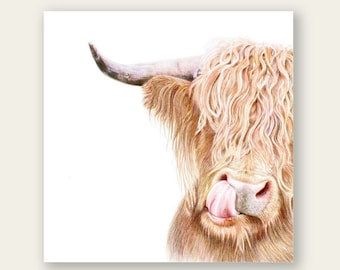 Hamish the Highland Cow Digital download Print 12x12 inch