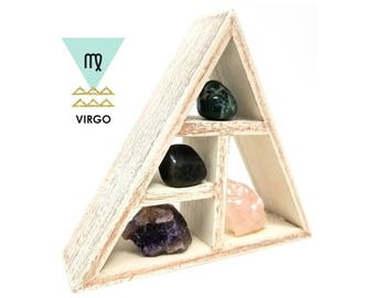 VIRGO Zodiac Crystal Healing Shelf Kit / Unique Astrology Stones and Wooden Triangle Shelf Set in Christmas Box / Virgo Gifts for Her ~ 07