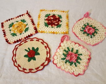 VintageHot Pads Trivets Crochet Set of 5 Roses Pink Green Yellow Red Pot Holders