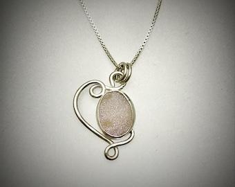 Sterling White Druzy Swirl Necklace