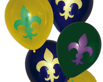 Mardi Gras Themed Latex Balloons/Fleur De Lis Theme Latex Balloons/ New Orleans Theme Latex Balloon/ Mardi Gras Color Balloons