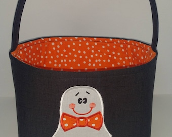 Personalized Halloween Bag, Boy Ghost Halloween Basket, Boy Halloween Bag, Halloween Tote, Halloween Bucket
