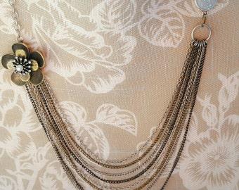 Antique brass pendant,silver,silver, black,gold, multi chain necklace, faux druzy, glitter druzy, flower pendant, glitter, multi chains,