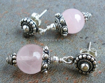 Rose Quartz Earrings in Sterling Silver, Bali Handcrafted Floral Posts, Pink Gemstone for Mom, Wife, Her