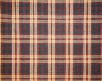 Homespun Material | Plaid Material | Primitive Material | Cotton Sewing Material | Home Decor Fabric