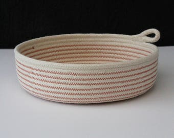 Flat bowl - brick dust // rope bowl / rope basket / table bowl / fruit bowl /handmade rope bowl