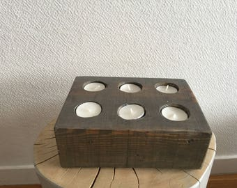 Brick pattern wooden candle holder