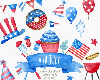 4th july clipart, independence day clipart ,watercolor, fourth of july, American celebration, flag, balloon, party, Patriotic, USA clipart