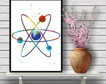 Colorful Atom, Chemical Element, Science Watercolor Room Decor, Home Decoration, gift, Instant Download (382)