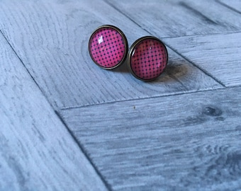 Black and Fuchsia cabochon Stud Earrings