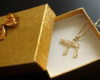 Chai Pendant, Solid Gold Pendant, Chai Necklace, Jewish Jewelry, Jewish Gold Jewelry, Wedding Gift, Bar Mitzva Gift, Mothers Day Sale